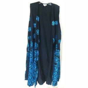 Lularoe Joy Floral Glitter Duster Vest
